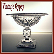 Imperial Glass Cape Cod Pressed Pattern Glass Compote Fancy Stem