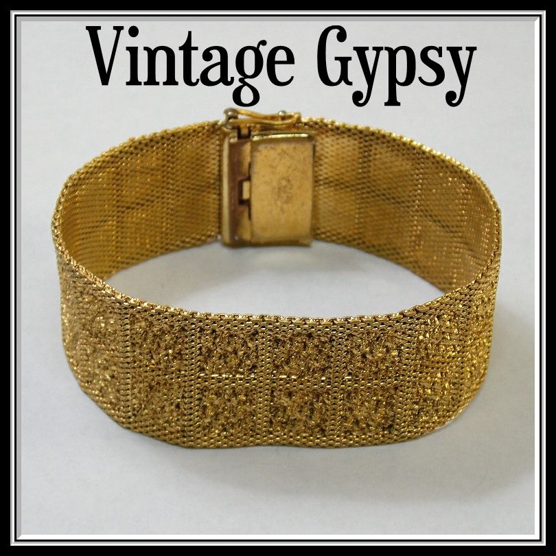 Grosse German Wide Decorative Mesh Bracelet, c. 1966