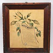 Antique Hand Painted Folk Art/Calligraphy/Poem in Frame