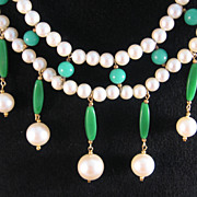 SALE Faux Pearl and Green Tube Bead Bib Necklace