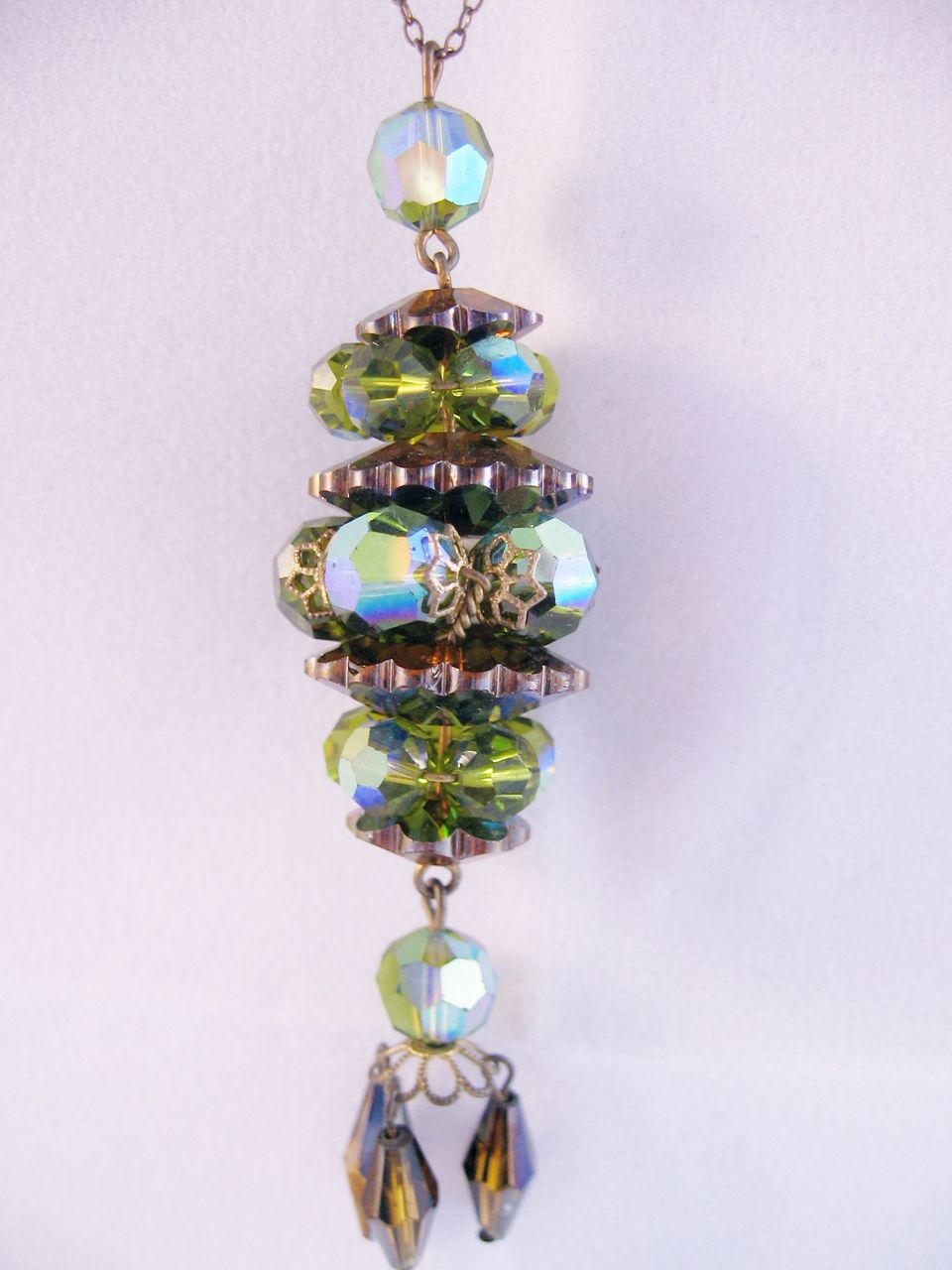 Stunning Olive Green Stacked Crystal and Rhinestone Necklace