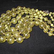 1950's Green and Gold Glitter Graduated Three Strand Necklace