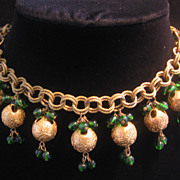 REDUCED Rare Czech Brass and Green Glass Convertible Necklace or Two Bracelets