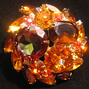 DeLizza & Ester -Amber-Orange Brown-Round Brooch-Pin