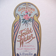 Original Art Nouveau Vintage Perfume Label-San Remo Toilet Water