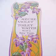 Vintage Paper Art Nouveau  Perfume Bottle Label Azure Violet Toilet Water-King NYC