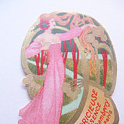 Vintage Original Perfume Label Art Nouveau Lady in the Trees-La Capricieuse Essence J Chamberr