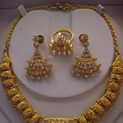 Brass and Clear Rhinestone Three Piece Parure from India