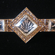 REDUCED Rare Czechoslovakian Etched Glass and Rhinestone Bar Pin Brooch