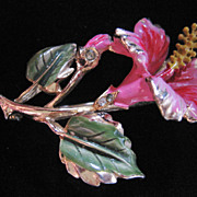 Coro Pink Enamel and Rhinestone Hibiscus Flower Pin-Brooch