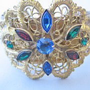 REDUCED Beautiful Czechoslovakian Goldtone Lace and Multi Color Stone Bracelet