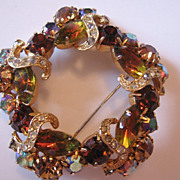 REDUCED Vintage Amber and Clear Ribbon  Icing Rhinestone Pin-Brooch