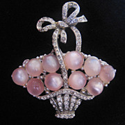 REDUCED Vintage Coro Pink Moonstone Cab Flower Basket-Pin Pegasus Mark