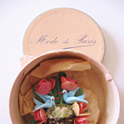 Vintage Blue Bird Hat-Brooch-Pin with Mini Hat Box-Mode de Paris