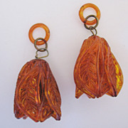 Vintage Early Spun Plastic Amber/Tortoise Shell Tulip Earrings