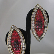 SALE Square Raspberry Glass Stones & Rhinestones Vintage Designer Earrings