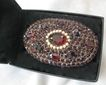 Stunning Bohemian Garnet &  Pearls  Large Antique Glass Brooch