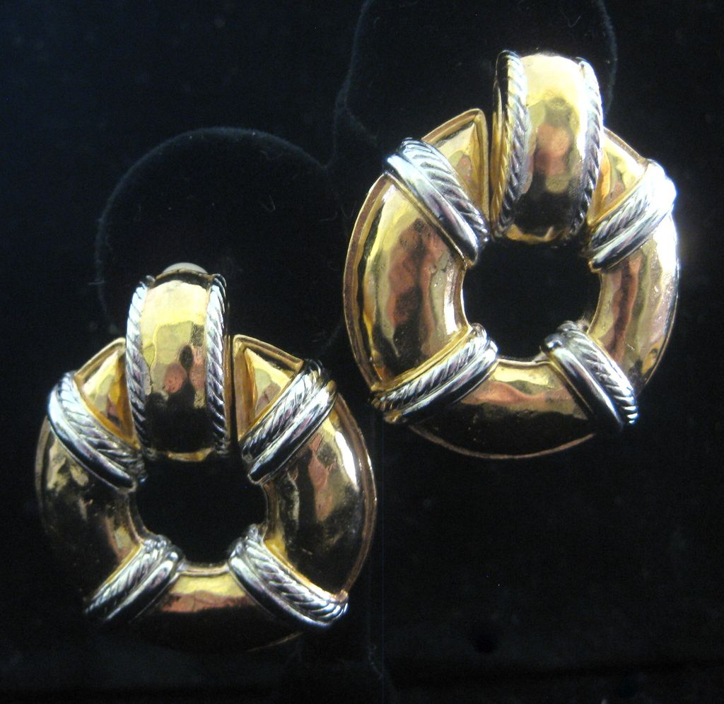Beautiful GIVENCHY Yellow & White Goldtone Large Earrings