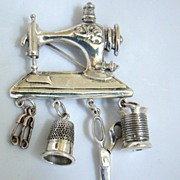 SOLD Sterling Silver Sewing Machine brooch