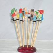 Unique Vintage ANRI Hand Carved Hors Doeuvre Spears CocktailToothpicks
