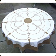 SOLD Great Vintage Round Tablecloth Arts & Craft Design