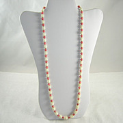 Long MOP Single Strand Necklace Pink Glass & Gold Tone Beads