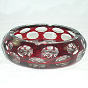 Gorgeous Ruby Red Cut To Clear Glass Ashtray Geometric Designs