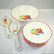 SALE PENDING Retro Salad Set Bakerite Bowl 6 Plates Serving Fork & Spoon