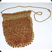 Great Vintage Topaz Glass Bead & Hand Crocheted Draw String Bag/Purse