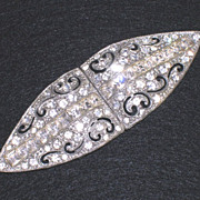 Sparkling Channel Set Clear Rhinestones Open Work Sash/Belt Buckle