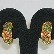 Bergere Vintage Earrings Textured Gold Tone Metal & Rhinestones