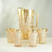 Jeannette Glass Pitcher Tumblers/Glasses Set Marigold White Enameled Cosmos Pattern