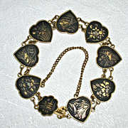 SOLD Delicate Vintage Damascene Asian Oriental Heart Link Bracelet K24