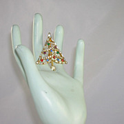 Christmas Tree Pin/Brooch Baguette Square Tear Drop Chaton Rhinestones