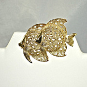 Vintage NOS Double Figural Angel Fish Pin Brooch