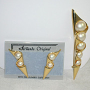 Vintage NOS Bold Beautiful Fernando Originals Brooch Pierced Earrings Set