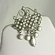 Gorgeous NOS Vintage Dangling White Milk Glass Bead Brooch Pin