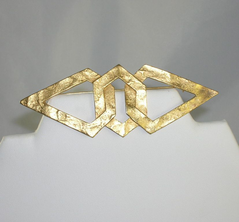 Large NOS Geometric Modernist Textured Gold Tone Metal Brooch