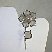 Vintage NOS Silver Tone Mesh Long Stem Flower Pin Brooch