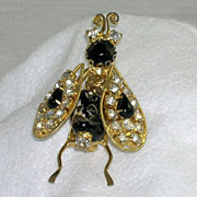 Fabulous Vintage Insect Bug Trembler Brooch Art Glass Bead Rhinestones
