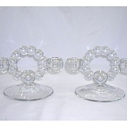 Set of 2 Crystal Candlewick Candleholders Imperial Glass Company