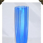 SOLD Gorgeous Art Glass Vase Art Deco Design Cobalt Blue