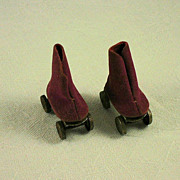 Vintage Doll Roller Skates Fabric Boot Design Metal Base and Wheels