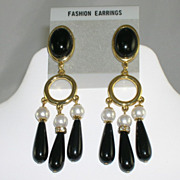 NOS Stunning Black Lucite Channel Set Rhinestones Faux Pearls Gold Tone Dangle Earrings