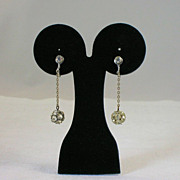 Dangling Rhinestone Disco Ball Earrings Clip On
