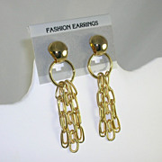 NOS Fun Fashion Earrings Long Gold Tone Dangle