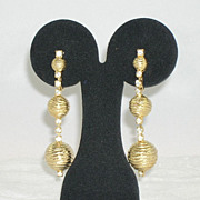 NOS Gorgeous Textured Gold Tone Metal Clear Rhinestone Long Dangle Earrings