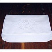 Lovely Bright White Embroidered Hanky Stockings Bag/Case