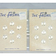The Fashion 14 Faceted Bright Clear Glass Vintage Buttons