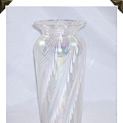 SOLD Striking Iridescent Glass Vase White Feather Painted Designs